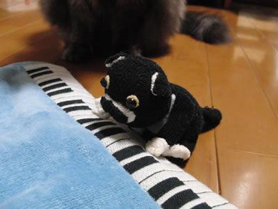 ピアノを弾くクマぐるみ?