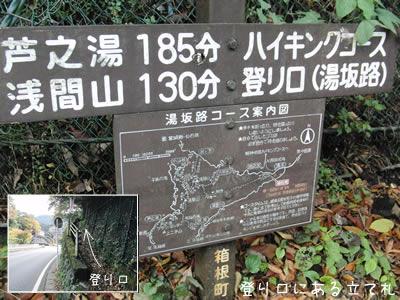 箱根の浅間山に行く登山口