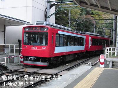 この日の箱根登山電車はどの車両もほぼ満員でした