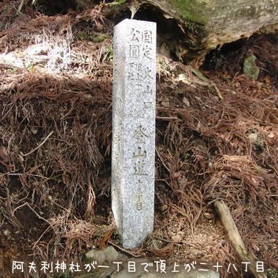 大山の登山道にある標識、○○丁目という書き方
